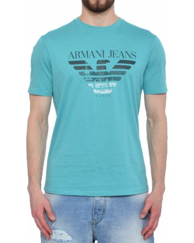 Футболка хлопковая бирюзовый Armani Jeans