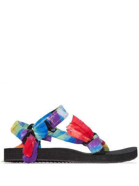 Niebieskie sandały bawełniane peep toe Arizona Love