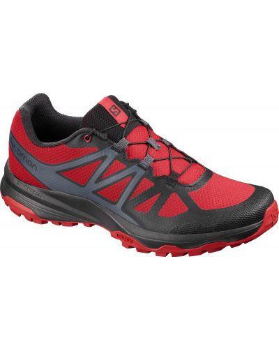 Красные кожаные кроссовки на шнурках Salomon