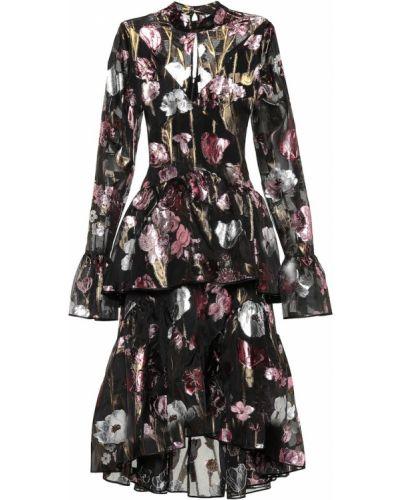 Платье миди с цветочным принтом из парчи Erdem