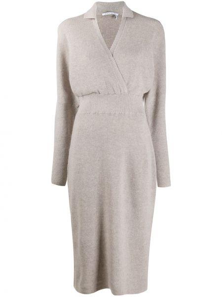 Прямое платье миди в рубчик с V-образным вырезом с воротником Agnona