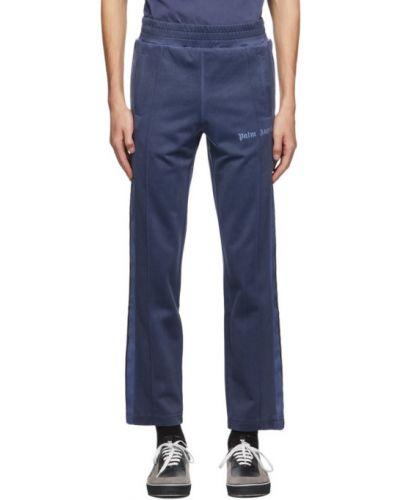 Czarny nylon spodnie o prostym kroju z paskami z kieszeniami Palm Angels
