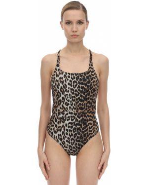 Слитный купальник леопардовые с кружевом Ganni