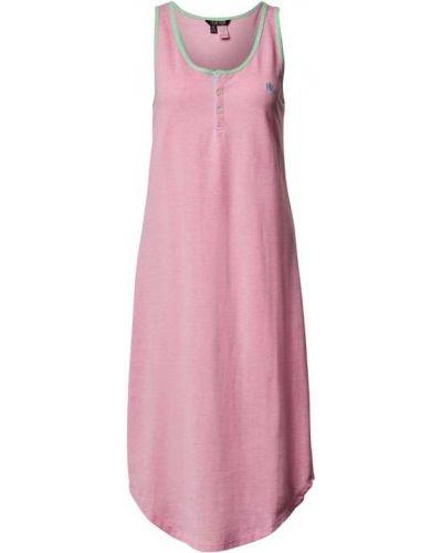 Różowa koszula nocna bawełniana Lauren Ralph Lauren