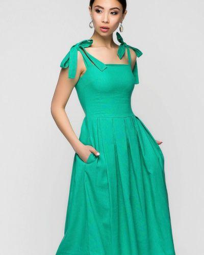 Платье миди весеннее зеленый A-dress