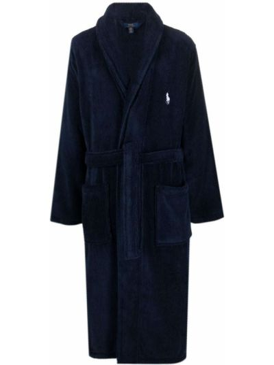 Długi szlafrok bawełniany - niebieski Polo Ralph Lauren