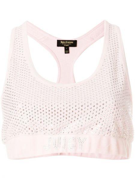 Велюровый розовый топ без рукавов с вырезом Juicy Couture
