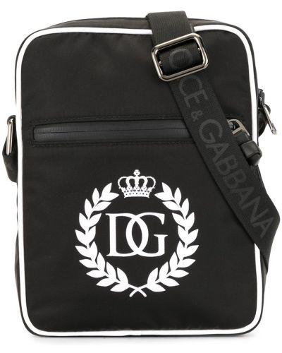 Черная кожаная сумка через плечо на молнии Dolce & Gabbana Kids