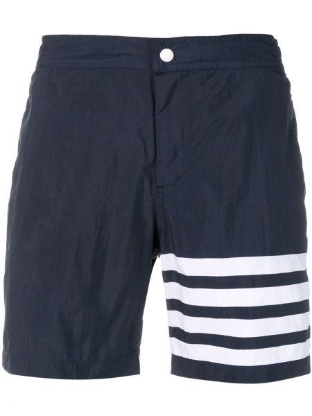 Коричневые шорты с карманами на кнопках Thom Browne