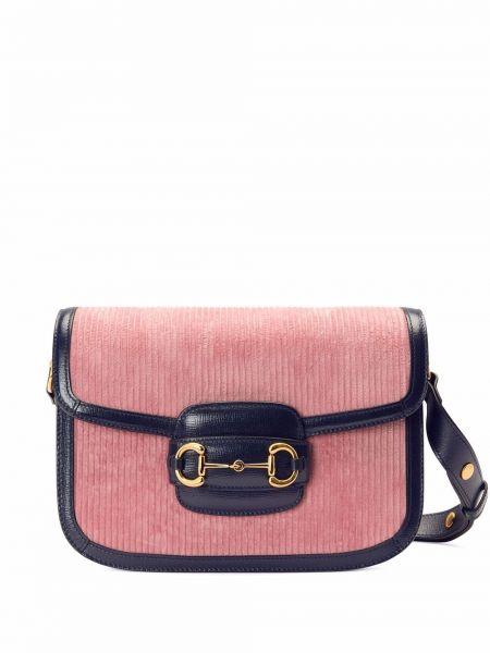 Torba na ramię skórzana - różowa Gucci