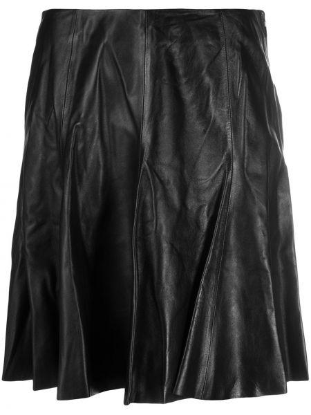 Кожаная черная с завышенной талией юбка матовая Arma
