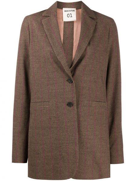 Коричневый пиджак на пуговицах с лацканами из вискозы Semicouture