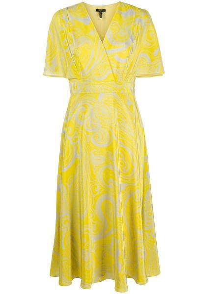 Żółta sukienka mini rozkloszowana krótki rękaw Escada