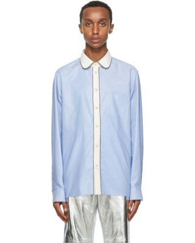 Biały koszula oxford z kołnierzem z kieszeniami z łatami Gucci