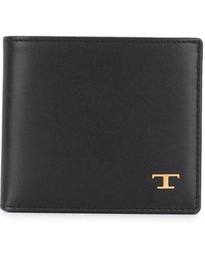 Золотистый кожаный черный кошелек Tod's