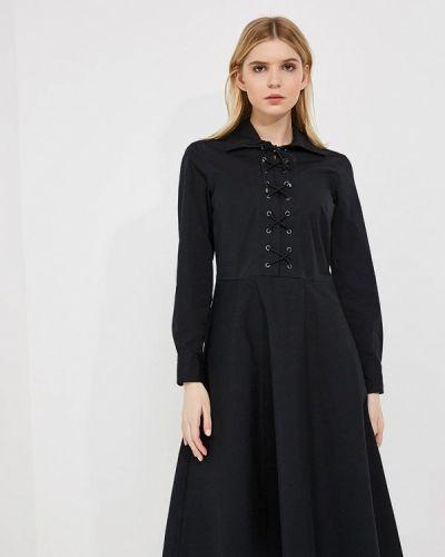 Черное платье с длинными рукавами Polo Ralph Lauren