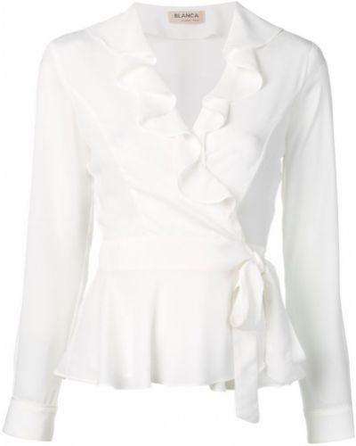 Блузка с длинным рукавом с баской с запахом Blanca