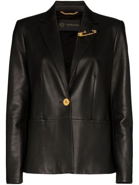 Черный кожаный пиджак с карманами Versace