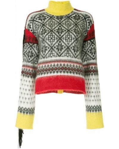 Вязаный свитер длинный с узором N21