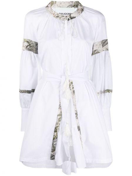 Белое платье на пуговицах с вырезом круглое Ava Adore