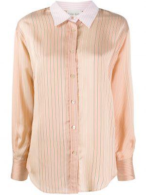 Шелковая с рукавами классическая рубашка в полоску Forte Forte