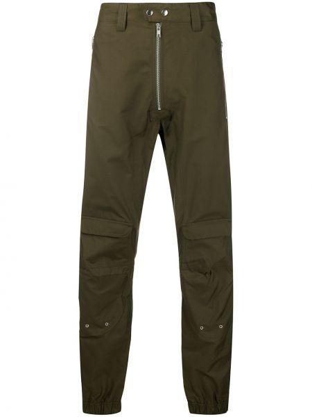 Хлопковые зеленые брюки с карманами на молнии Gmbh