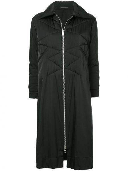 Черное стеганое длинное пальто с воротником Yohji Yamamoto Pre-owned