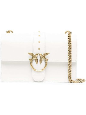 Кожаная белая сумка на цепочке на молнии Pinko