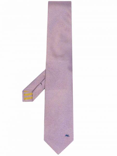 Krawat z jedwabiu - fioletowy Etro