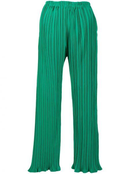Плиссированные зеленые брюки с поясом Bambah