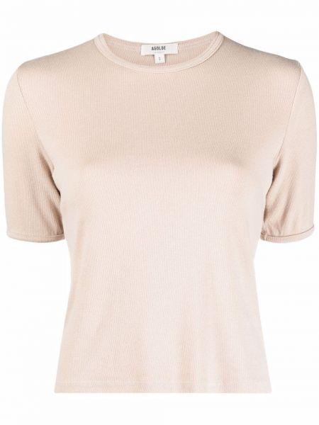 Прямая футболка с вырезом с короткими рукавами в рубчик Agolde
