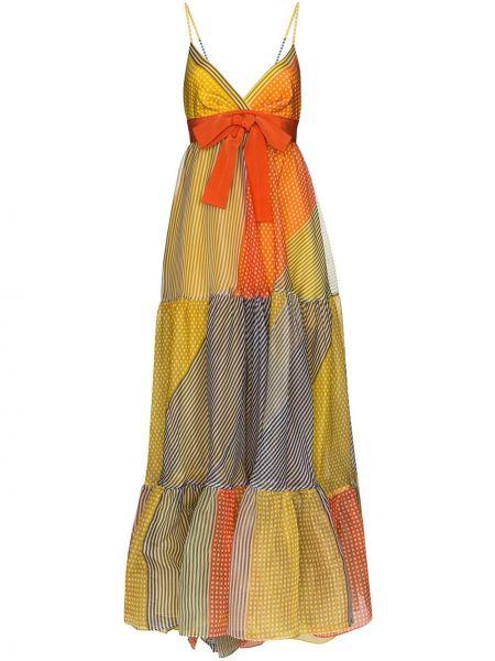 Шелковое платье макси с V-образным вырезом с оборками на молнии Silvia Tcherassi