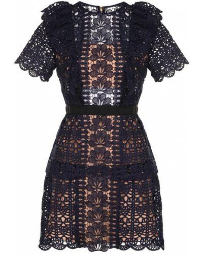 Платье мини с оборками ажурное Self-portrait
