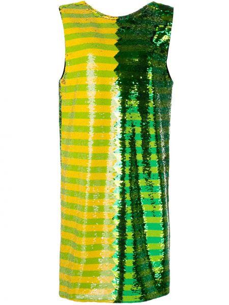Zielona sukienka mini w paski bez rękawów Halpern