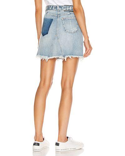 Niebieska spódnica mini z paskiem bawełniana Givenchy