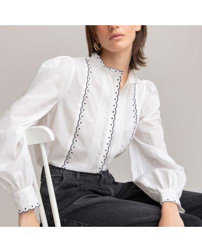 Белая блузка с вырезом со складками Laredoute