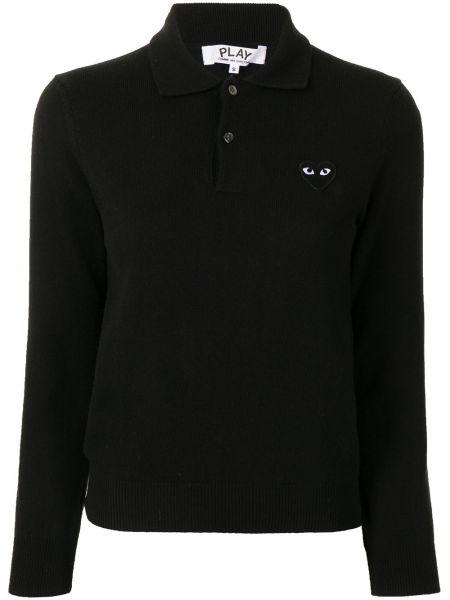 С рукавами черная рубашка с воротником Comme Des GarÇons Play