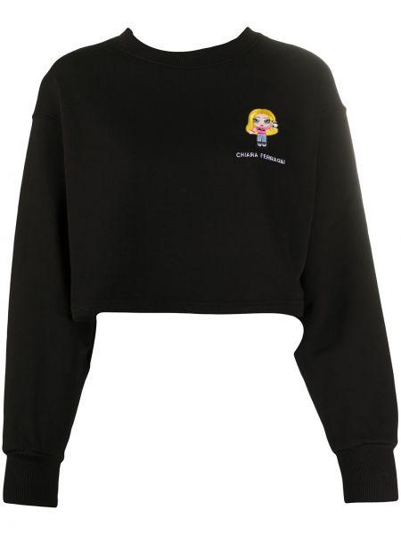 Хлопковый черный свитшот с вышивкой с рукавом реглан Chiara Ferragni
