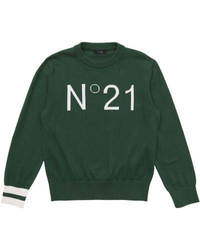 Prążkowany zielony sweter bawełniany N°21