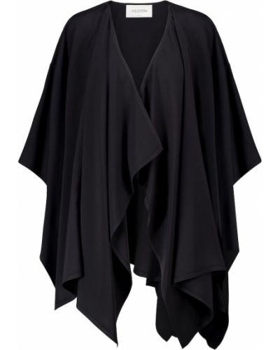 Asymetryczny czarny peleryna z wiskozy z draperią Valentino
