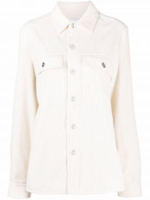 Biała koszula bawełniana z długimi rękawami Jil Sander