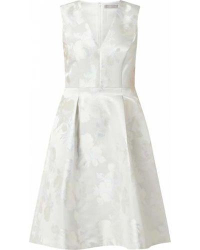 Biała satynowa sukienka koktajlowa rozkloszowana Christian Berg Cocktail
