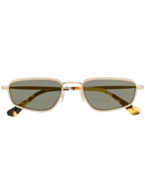 Золотистые прямые желтые солнцезащитные очки прямоугольные Jimmy Choo Eyewear