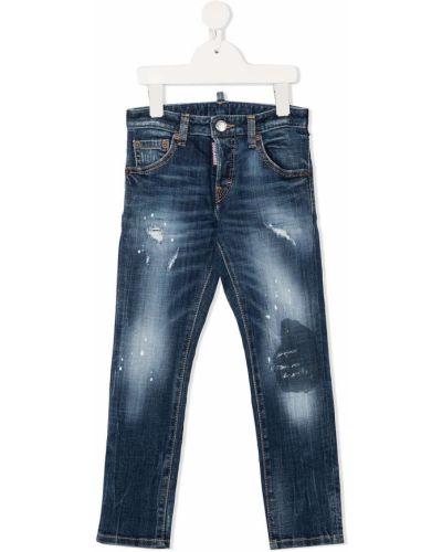 Синие кожаные джинсы-скинни на пуговицах Dsquared2 Kids