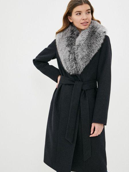 Серое зимнее пальто с капюшоном Samos Fashion Group