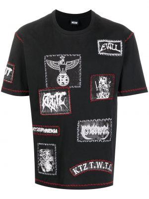 Czarny t-shirt bawełniany krótki rękaw Ktz