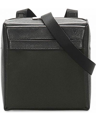 Черный кожаный рюкзак на молнии Louis Vuitton