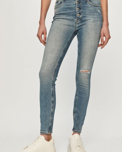 Niebieskie jeansy rurki zapinane na guziki bawełniane Calvin Klein Jeans