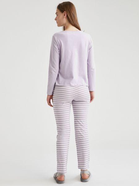 Хлопковая пижама с брюками с вырезом с рисунком Defacto