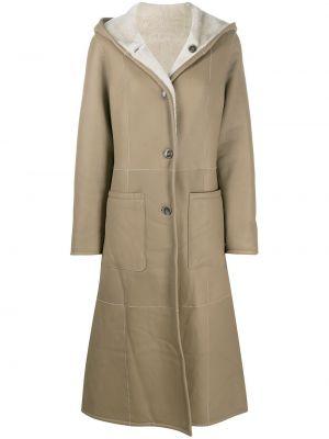Коричневое пальто с капюшоном двустороннее на пуговицах с мехом Liska